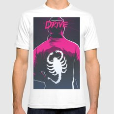 Drive (Night Version) MEDIUM White Mens Fitted Tee