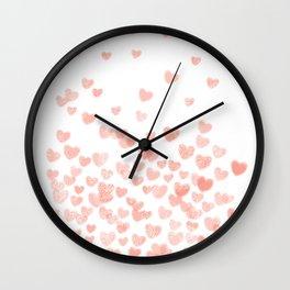 Hearts falling painted pastels heart pattern minimal art print nursery baby art Wall Clock