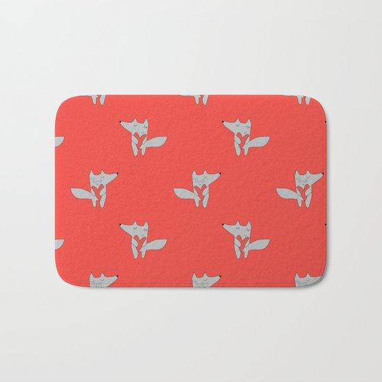 Fox in love red Bath Mat