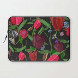 Red, Pink and Claret Red Colored Tulips With Roses and Lily Elegant Pattern Laptop Sleeve