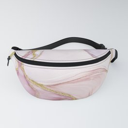 Blush Pink And Gold Alcohol Ink Marble Fanny Pack