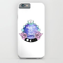 Manifest that Shit Crystal Ball Pastel Roses iPhone Case