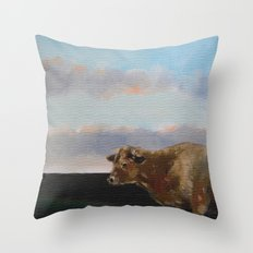 cow thinking about grass Throw Pillow