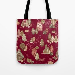 Hansel and Gretel Fairy Tale Gingerbread Pattern Tote Bag