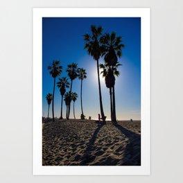 Sun on palm tree Art Print