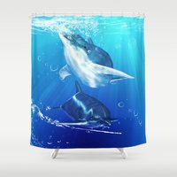 """the life aquatic Shower Curtains featuring """"Aquatic Harmony"""" Dolphin Wall Art by Moonlake Designs"""