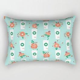 Coffee lovers mint floral bouquet gift idea for sbucks fan java pattern kitchen food Rectangular Pillow
