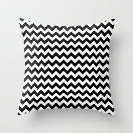 Zig Zag (Black & White Pattern) Throw Pillow