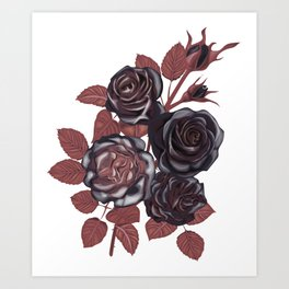 Gothic Roses. Vintage roses Art Print