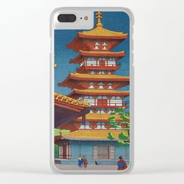 Japanese Woodblock Print Vintage Asian Art Colorful woodblock prints Pagoda Shinto Shrine Clear iPhone Case