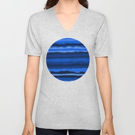 Hazy Blue Stripes Unisex V-Neck
