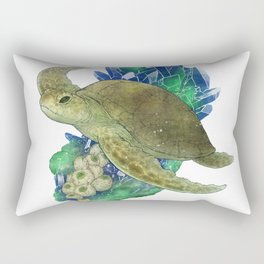 Sea Turtle and Azurite Rectangular Pillow