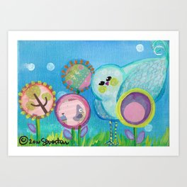 Birdy and the Dandies Mixed Media Painting Art Print