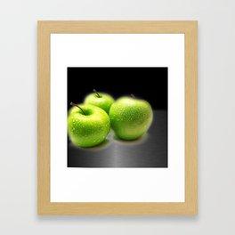 Wet Green Apples on Metallic Background Framed Art Print
