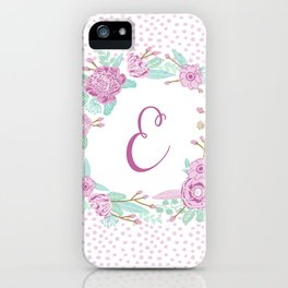 Monogram E - cute girls purple florals flower wreath, lilac florals, baby girl, baby blanket iPhone Case