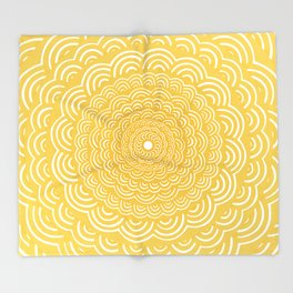 Spiral Mandala (Yellow Golden) Curve Round Rainbow Pattern Unique Minimalistic Vintage Zentangle Throw Blanket