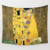 klimt Wall Tapestries featuring The Kiss - Gustav Klimt by BravuraMedia