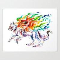 okami Art Prints featuring Okami Wolf by Katy Lipscomb