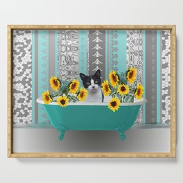Bathtub with black and white cat - sunflower Serving Tray