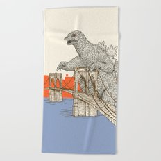 Godzilla vs. the Brooklyn Bridge Beach Towel