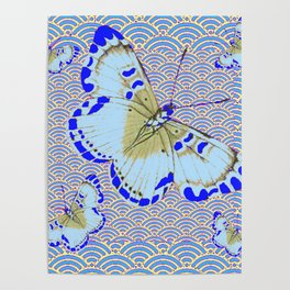 ORIENTAL STYLE BLUE-WHITE EXOTIC BUTTERFLY BLUE ART Poster