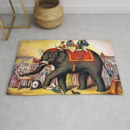 1874 Elephant Performing Circus Advertisement Poster Rug