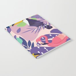 Tropical Jungle With Flamingos And Toucans Memphis Style Notebook