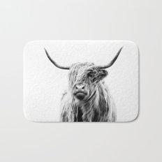 portrait of a highland cow Bath Mat