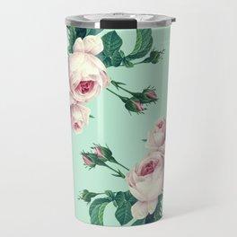 Roses Mint Green + Pink Travel Mug