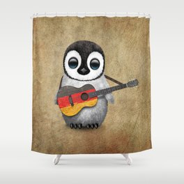 Baby Penguin Playing German Flag Guitar Shower Curtain