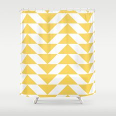 Yellow Triangle Shower Curtain