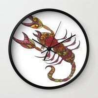 tatoo Wall Clocks featuring Tatoo Scorpion by PepperDsArt