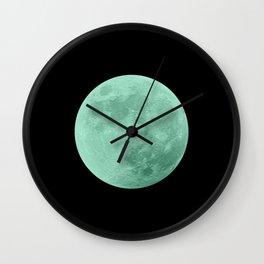 TEAL MOON // BLACK SKY Wall Clock