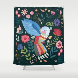 Folk Art Inspired Hummingbird With A Flurry Of Flowers Shower Curtain