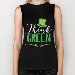 St. Patricks Day - Think Green Top Hat Biker Tank