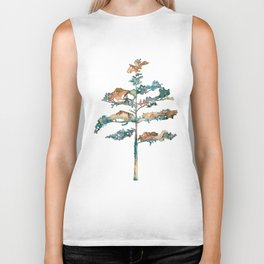 Pine Tree #2 in pink and blue - Ink painting Biker Tank