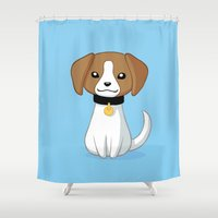 beagle Shower Curtains featuring Beagle by Freeminds