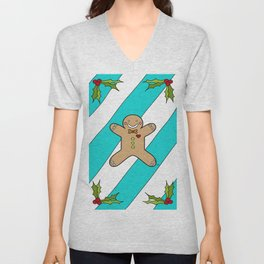 Holly Jolly Gingerbread Man Unisex V-Neck