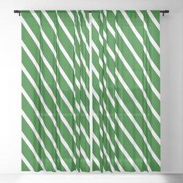 Christmas Green Diagonal Stripes Sheer Curtain