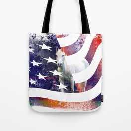 White Horse And American Flag By Annie Zeno Tote Bag