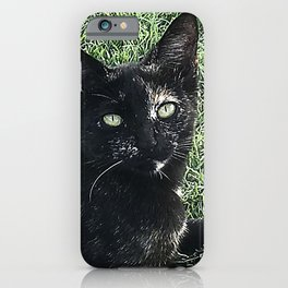 Island Cat Relaxing in Tropical Grass iPhone Case