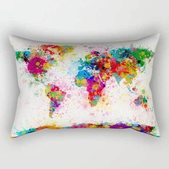 Map of the World Map Paint Splashes Rectangular Pillow