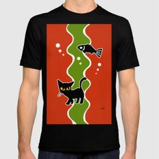 Fish and cat MEDIUM Mens Fitted Tee Black