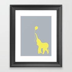 Elephant with Balloon - Lemon Framed Art Print