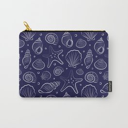 Sea shells illustration. Navy blue and white. Summer ocean beach print. Carry-All Pouch
