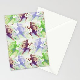 Watercolor women runner pattern Brown green blue Stationery Cards