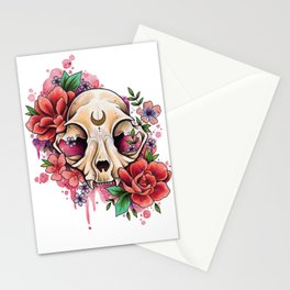 Neo Traditional Cat Skull and Roses Stationery Cards