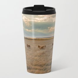 Cows Among the Grass - Cattle Wade Through a Field in Texas Travel Mug