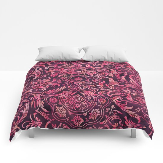 Watercolor Damask Pattern 01 Comforters