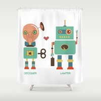 lawyer Shower Curtains featuring Robotic Love by akaink
